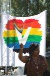 Full karnevalsyra. här viftar jag med kommunflaggan framför vår nyproducerade banderoll.