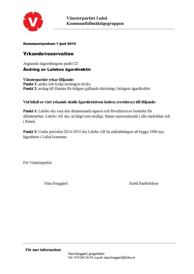 Ändring av ägardirektiv 150601